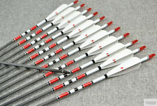 12x Carbon Arrows of 400 500 600 spine with 4pcs Turkey Feather for 80cm Length