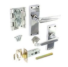 VICTORIAN STRAIGHT Door Handle PACK Internal Lever on Plate Flat Latch CHROME