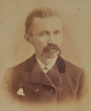 """ANTIQUE LATE 1800'S CABINET PHOTO OF MAN BLOOMINGTON ILL. 4.25"""" X 6.5"""" *"""