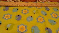 """ON SALE !!! Fabric Blue and Teal Birds On Green Flannel  18"""""""