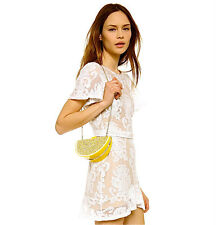 NWT Kate Spade Via Limoni Lina Lemon Wedge Handbag Clutch Sparkling Purse RARE!