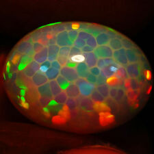 13.70ct AWESOME THE BEST MULTI RAINBOW 3D  HONEYCOMB PATTERN CABOCHON OPAL-RS214