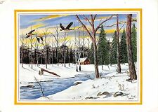 BR12726 Cabin in the woods Painting postcard