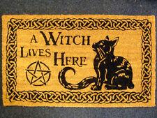 Qui vive una strega Zerbino pagan wicca gatto welcome Tappeto Porta D'Ingresso Hall