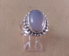 Vintage Oval Shape Cabochon 14x10mm Chalcedony Stone Silver 925 Ring skaisM15