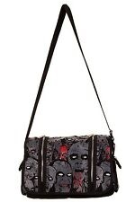 Prohibido Negro Gris Zombie Army Messenger Bag Psychobilly Horror Punk Goth Rock