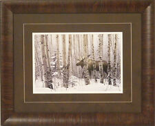 A WALK IN THE WOODS by Stephen Lyman Moose Snow Wildlife FRAMED & MATTED PRINT