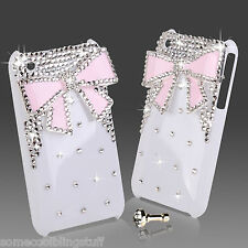 COOL BLING DESIGNER WHITE PINK 3D BOW DIAMANTE STYLISH CASE COVER 4 IPHONE 3 3gs