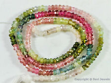 "Micro faceted Tourmaline 2.5-3mm Rondelle Gemstone Beads 14"" strand"