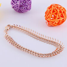 Womens Centipede Chain Charm Bracelet Rose Gold Filled Jewelry Free Shipping