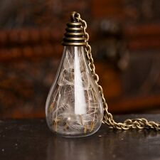 Chic Light Bulb Dandelion Seeds Wishing Glass Bronze Pendant Long Necklace