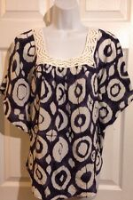 INC Gorgeous Navy Blue, White Batik Silk Shirt Blouse Size 4 SMALL Career Casual
