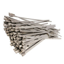 100PCS 8'' Stainless Steel PVC Exhaust Wrap Coated Self Locking Cable Zip Ties