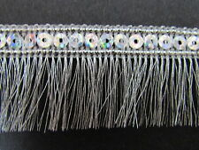 Sequin Metallic Fringed Braid Silver / Gold 3cm Sewing/Crafts/Costume/Corsetry