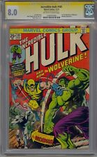 INCREDIBLE HULK #181 CGC 8.0 SS SIGNED STAN LEE 1ST FULL WOLVERINE WHITE PAGES