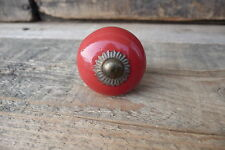 CHOOSE Qty = Small RED CERAMIC Round Knob - Shabby Chic = Cabinet Drawer Pull