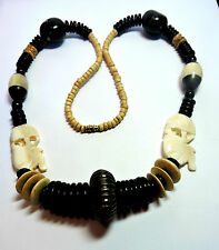 New Old Stock Carved Upside Down Elephant & Bead Unusual Necklace  #FASH7