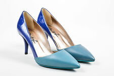 Lanvin NIB $695 Blue Teal Patent Leather Pointed Toe High Heel Pumps SZ 36