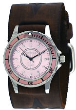 Nemesis FST092P Women's Star Icon Pink Dial Sports Wide Leather Cuff Band Watch