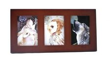 "ACEO picture frame for 2.5"" x 3.5"" art - three openings - WALNUT -  WOOD"