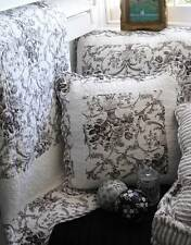Shabby French Country Black Toile Paris Chic Sofa Couch Throw Quilt & Cushion Nw