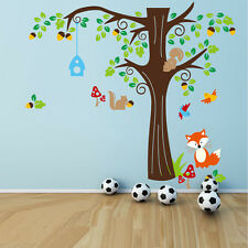 Large Forest animals Fox Tree Removable Wall Sticker DIY Decal Mural Room Decor