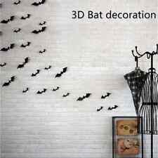 12pcs 3D Black Bat Diy Wall Sticker Decal Halloween Party Festival Decoratio