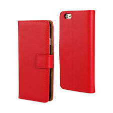 "For iPhone 6/6s 4.7"" Red Genuine Real Leather Cash Card Wallet Case Cover Stand"