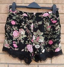 PAPAYA BLACK PINK GREEN FLORAL LACE TRIM CULOTTE SUMMER SHORTS HOT PANTS 8 S