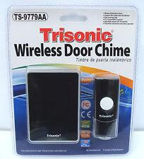 NEW! Wireless Door Bell Chime Ringer Battery Powered & LED Flashing Light Black