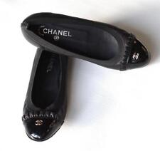 Chanel Black Leather Ballet Flats CC Ruffle Patent Leather Cap Toe size 7.5 - 8M