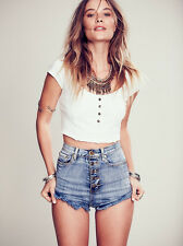 126738 New Free People Embroidered Eyelet Beauty Tee White Crop Top Medium M