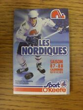 1987/1988 Fixture Card: Ice Hockey - Nordiques Quebec (fold out style). Any faul