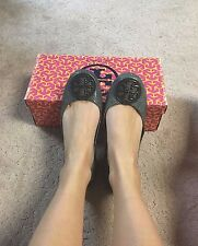 Tory Burch Reva Stingray Leather Ballerina Flat Smoke Stingray Grey Size 6 $235