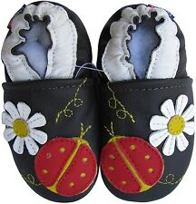 carozoo ladybug flower dark brown 5-6y soft sole leather kid shoes slippers