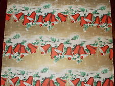 VINTAGE 1940s CHRISTMAS OLD DEPARTMENT STORE WRAPPING PAPER SNOWY BELLS 2 YARDS
