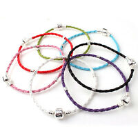 Wholesale 10x LEATHER BRAIDED LOVE CHARM BRACELET FOR BEAD 22CM COLORFUL OPTION