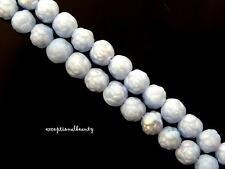 50 Jablonex Czech Glass 6mm Round Rose Rosette Flower Bohemian Lt Blue AB Beads
