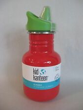 KLEAN KANTEEN 12 OZ KID'S SIPPY TOP WATER BOTTLE FARM HOUSE RED NEW NWT