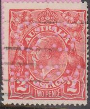 (XS41) 1914 AU 2d red KGV perforated OS NSW (K)
