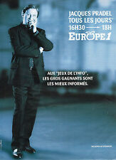 "PUBLICITE ADVERTISING 074  1997  EUROPE 1 radio  JACQUES PRADEL  ""JEUX DE L'INFO"