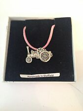 Traction Engine PP-T11Motif Pewter  PENDENT ON A PINK CORD Necklace