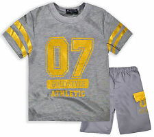 Boys Short Sleeved T-Shirt And Shorts Set New Kids Athletic Outfit Ages 2-12 Yrs