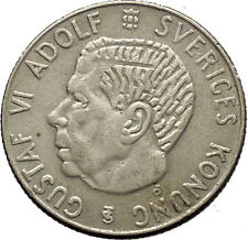 1956 SWEDEN King GUSTAV VI ADOLF Krona Silver SWEDISH Coin Coat of Arms i53800