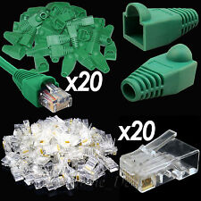 20xLot RJ45 Cat5e 6e Network Cable Green Boot+20PC Ethernet Cat5 Lead Connectors