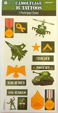 16 Army Military Camouflage Tattoos ( 8 squares) Party Favors Teacher Supply