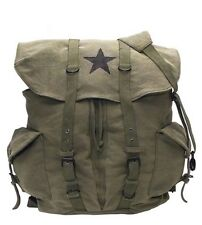 Rothco 9158 Vintage Canvas Front Strap Weekender Backpack - Olive Drab/Star