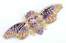 Gold Purple Bee Wasp Bug Insect Brooch with Swarovski Elements Gift Boxed New