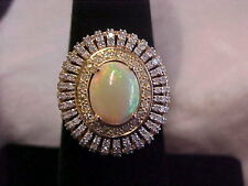 *ESTATE*STUNNING*OPAL & 115 DIAMOND HALO COCKTAIL RING 10K YELLOW GOLD sz7 GIFT