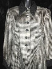 DW3 For David Warren Blazer Jacket Womens 8 Houndstooth Button up Black White